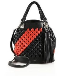 Sonia Rykiel Two Tone Woven Leather Top Handle Bag
