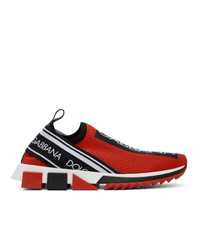 Dolce and Gabbana Red And Black Sorrento Sneakers