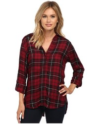 Sam Edelman Cosette Red Black Plaid Split Back Blouse With Zipper