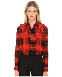 Kate Spade New York Woodland Plaid Chiffon Blouse