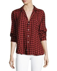 Frank eileen eileen button front long sleeve plaid shirt medium 6870182