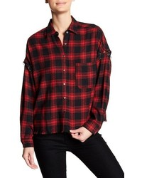Lush Grommet Detail Plaid Flannel Shirt