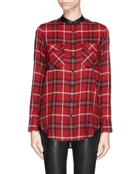 Vince Leather Trim Plaid Shirt