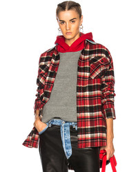 Oversized flannel button down shirt in checkered plaidred medium 6870176