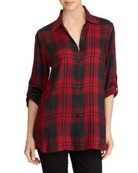 Lauren Ralph Lauren Plaid Roll Cuff Button Down Shirt