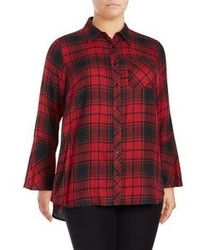 Vince Camuto Plus Plaid Bell Sleeve Button Down Shirt