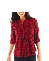 St. John's Bay St John S Bay Pintuck Plaid Shirt Petite Cabaret Red 4002d