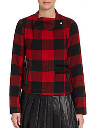 Saks fifth avenue red buffalo plaid convertible collar jacket medium 110658