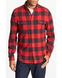 Red and Black Plaid Long Sleeve Shirt