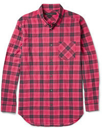 Checked cotton blend shirt medium 58935