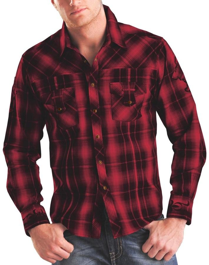 Modelcurrentbrandname Rock Roll Cowboy Plaid Cross Applique Western