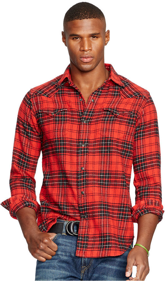 640ce06fe ... Red and Black Plaid Long Sleeve Shirts Polo Ralph Lauren Plaid Twill  Western Shirt ...