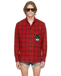 Gucci Red Black Check Cat Patch Shirt