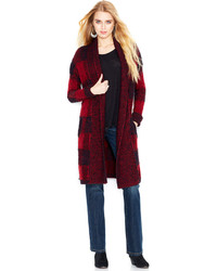 Oversized plaid marled knit cardigan medium 113069