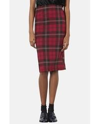 Topshop Plaid Tube Skirt Red 6