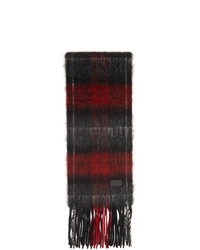 Saint Laurent Black And Red Tartan Small Scarf