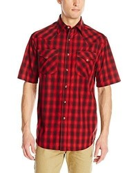 Red and Black Plaid Short Sleeve Shirts for Men | Men's Fashion