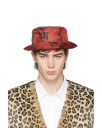 Neil Barrett Red And Black Caotic Pierced Bucket Hat