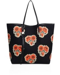 Alexander McQueen Skull Open Rose Print Canvas Shopper