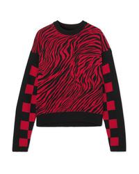 McQ Alexander McQueen Ribbed Ed Intarsia Cotton Mesh Sweater