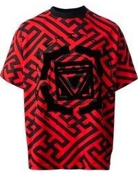Red and Black Print Crew-neck T-shirt