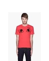 Comme Des Garons Play Red Black Eyes Logo T Shirt