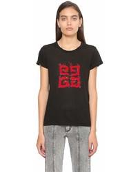 Givenchy Logo Printed Cotton Jersey T Shirt