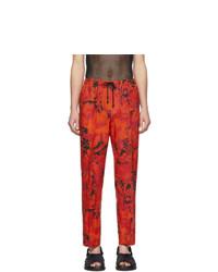 Dries Van Noten Red And Black Linen Perkino Trousers