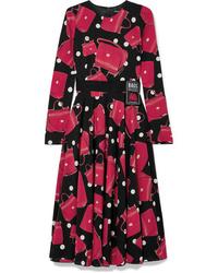 Dolce & Gabbana Printed Stretch Silk Chiffon Midi Dress