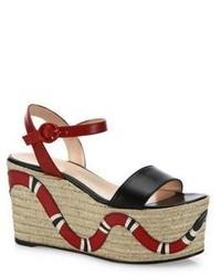 Gucci Barbette Snake Leather Espadrille Platform Wedge Sandals