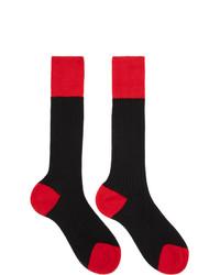 Prada Black And Red Bi Color Socks