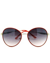 106shades retro oversized round aviator sunglasses red medium 163688