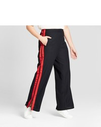 Red and Black Wide Leg Pants