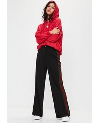 Missguided Black Popper Side Stripe Split Pants