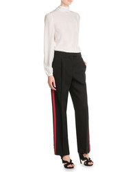 Alexander McQueen Wool Silk Wide Leg Pants