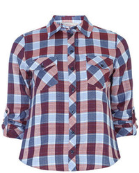 Red and Navy Check Dress Shirt