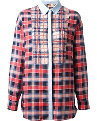 MSGM Lace Insert Checked Shirt
