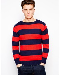Red and Navy Crew-neck Sweater