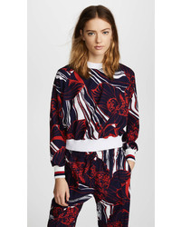 Red and Navy Floral Long Sleeve Blouse