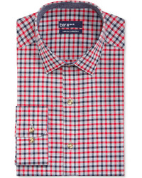 Bar iii carnaby collection slim fit red and navy multi gingham dress shirt medium 125242