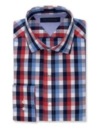 Tommy Hilfiger Bold Red And Blue Check Dress Shirt