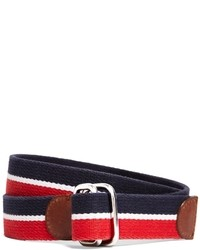 Red and Navy Horizontal Striped Canvas Belt