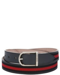 Gucci Navy Blue And Red Web Stripe Canvas Belt