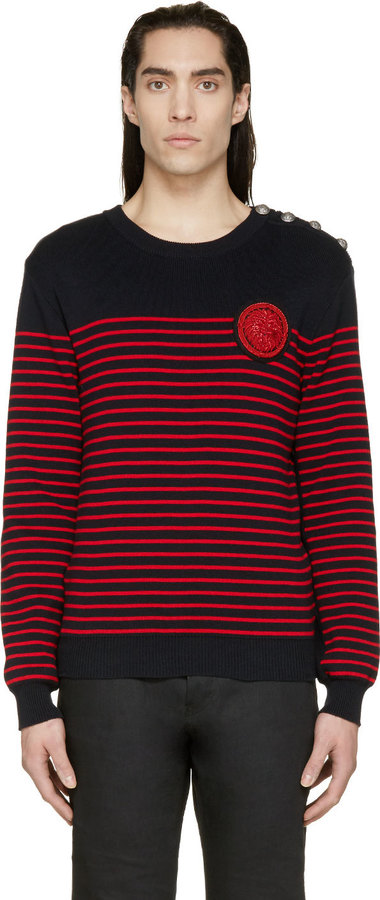 Balmain Navy Red Nautical Sweater | Where to buy & how to wear