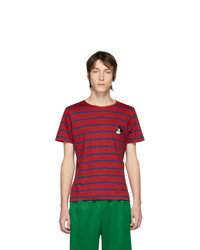 Red and Navy Horizontal Striped Crew-neck T-shirt