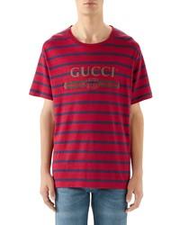 Gucci Stripe Logo Oversize Linen Cotton T Shirt