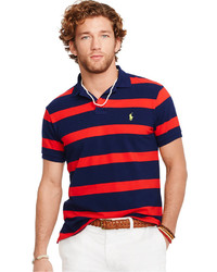 Red and Navy Horizontal Striped Polo