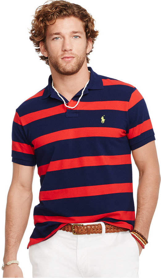 ... Polo Ralph Lauren Custom Fit Striped Mesh Polo ...