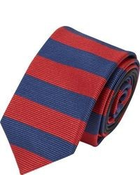 Red and Navy Horizontal Striped Tie