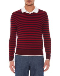 Red and Navy Horizontal Striped V-neck Sweater